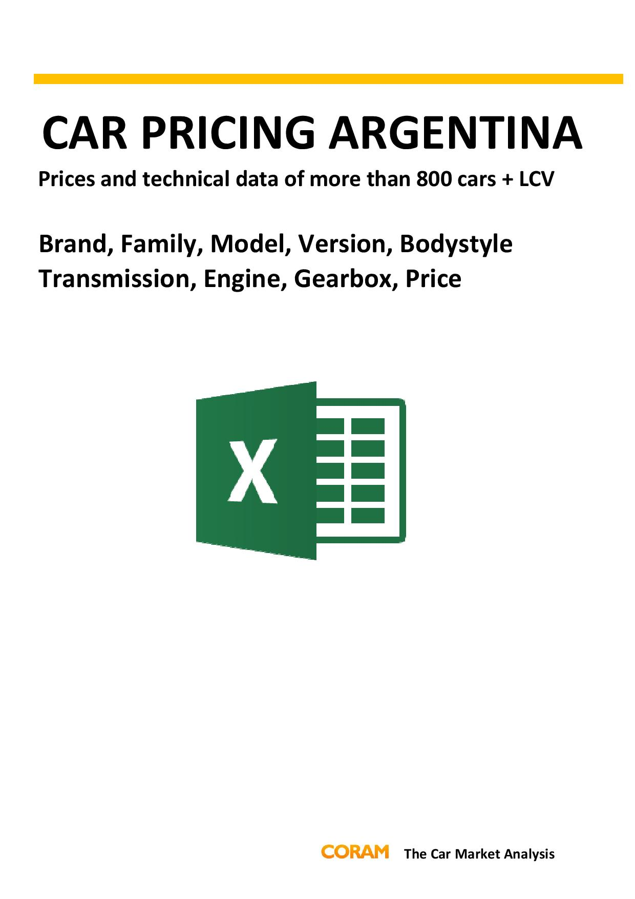 Car Pricing Argentina : September 2016