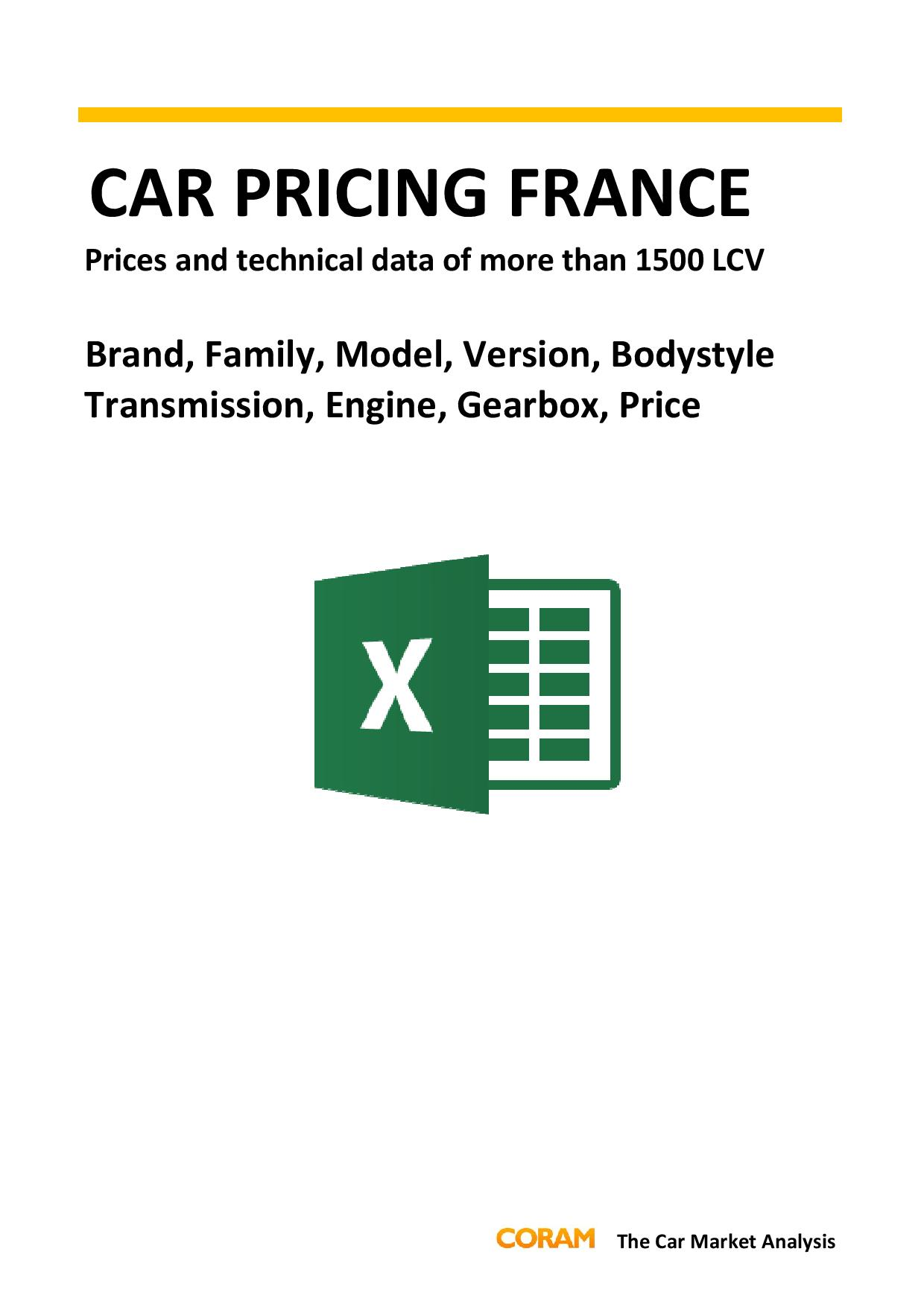 Car Pricing France LCV : July 2016