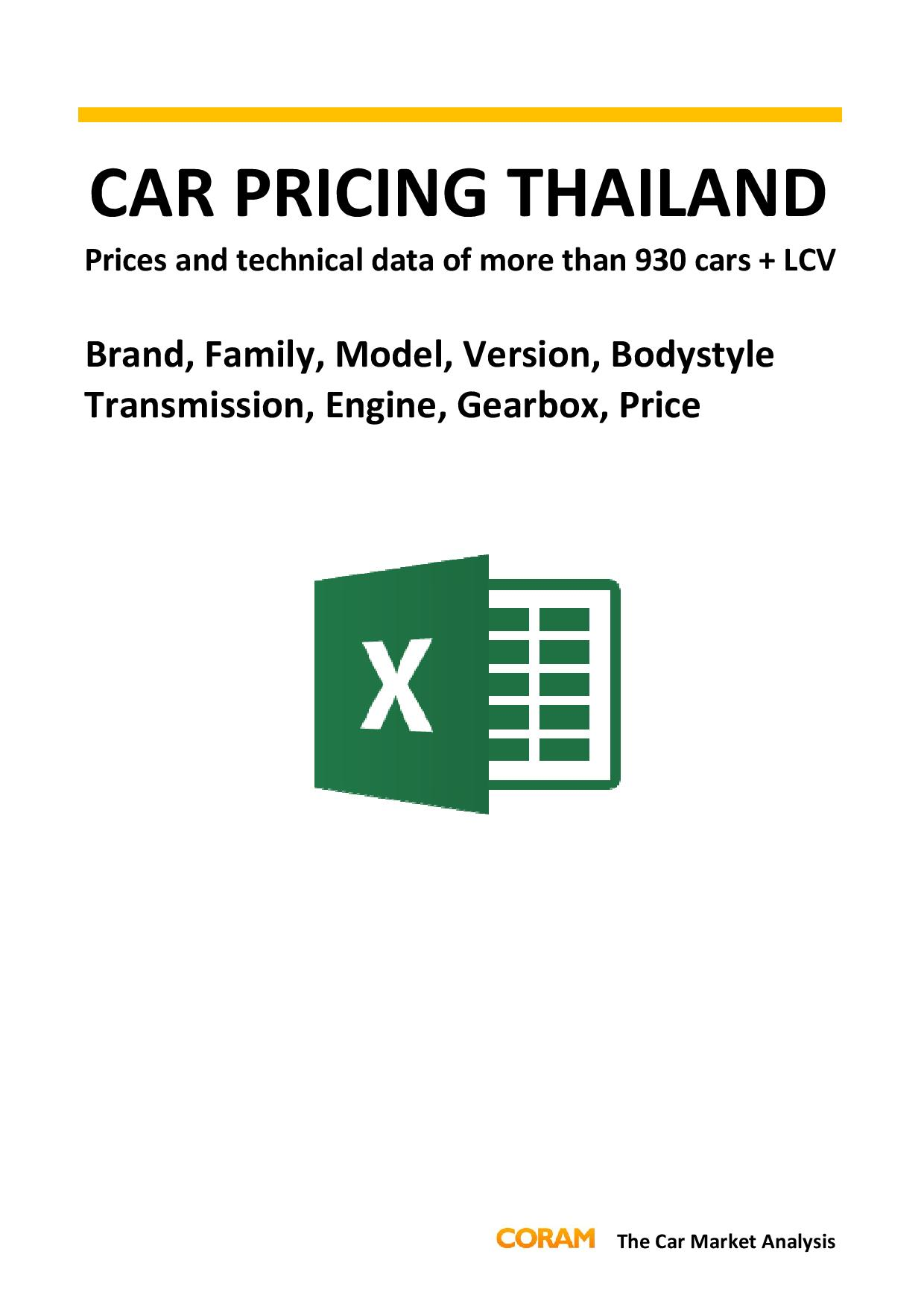 Car Pricing Thailand : September 2016
