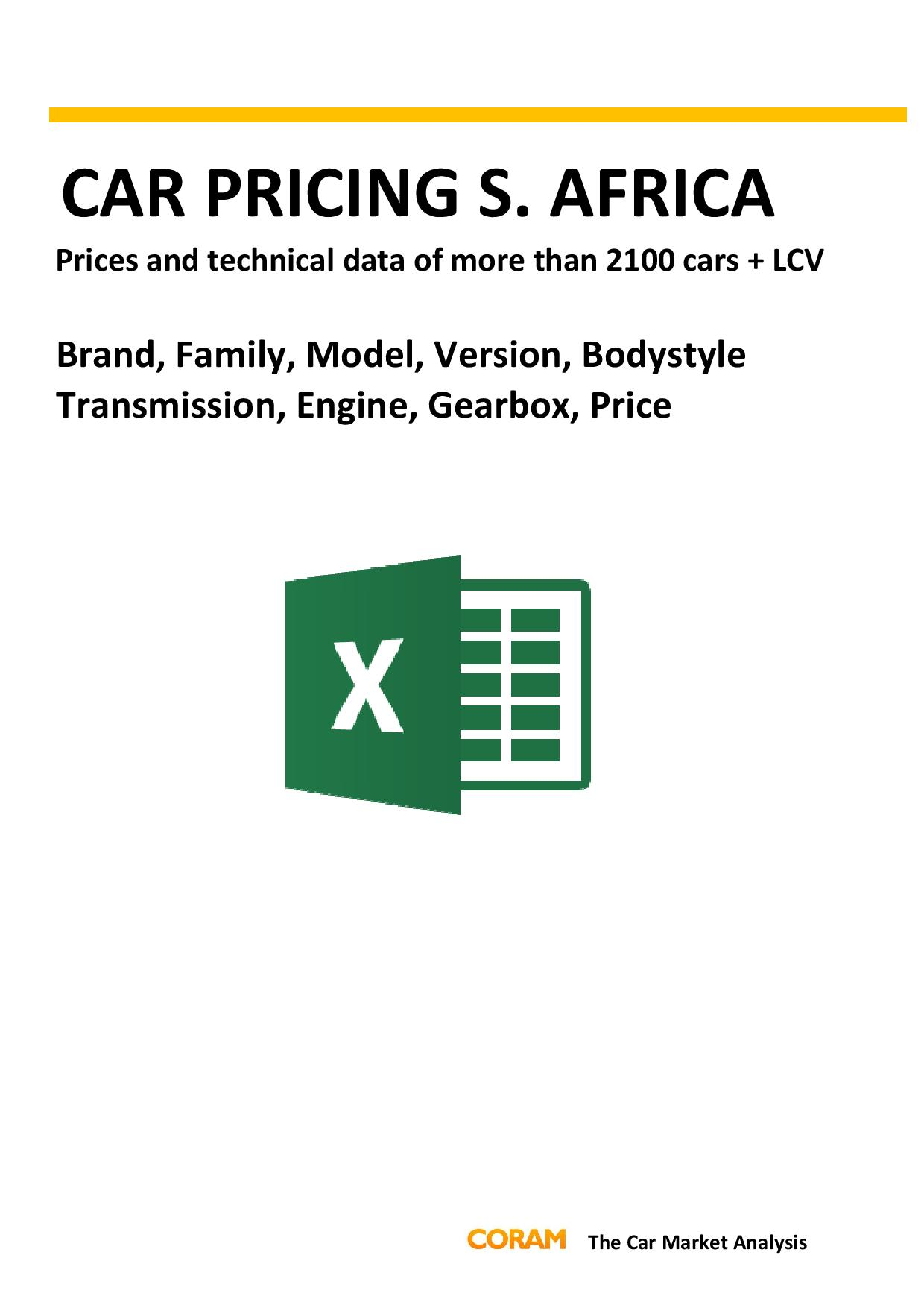 Car Pricing South Africa : October 2016